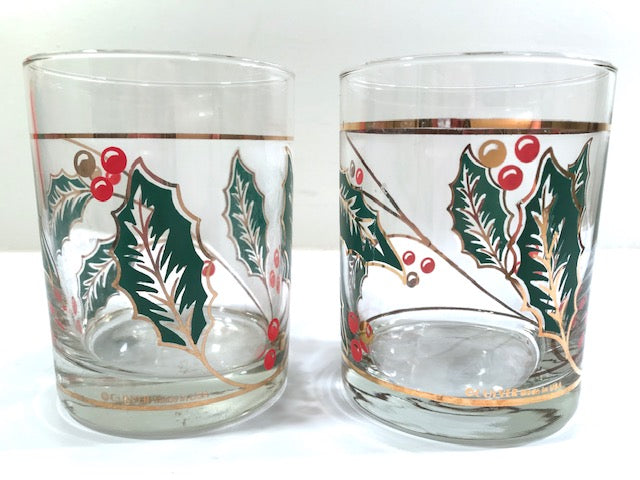 Culver Signed Mid-Century Holly Leaf Double Old Fashion Glasses (Set of 2)