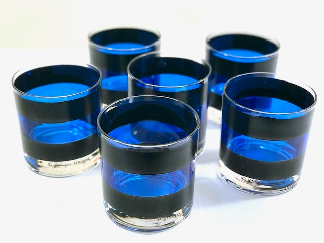 Georges Briard Signed Mid-Century Black and Blue Old Fashion Glasses (Set of 6)
