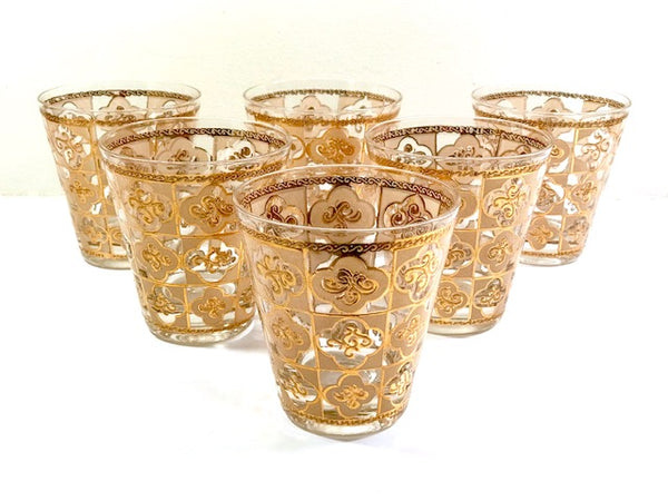 Culver Mid-Century 22-Karat Gold Clover Double Old Fashion Glasses (Set of 6)