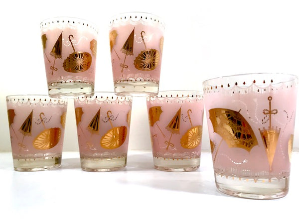Mid-Century Pink & 22-Karat Gold Umbrella Mary Poppins Double Old Fashion Glasses (Set of 6)