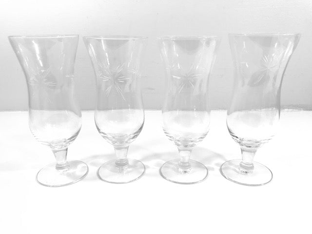Mid-Century Etched Starburst Glasses (Set of 4)