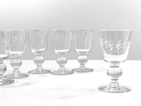 Mid-Century Etched Starburst Cordial Glasses (Set of 6)