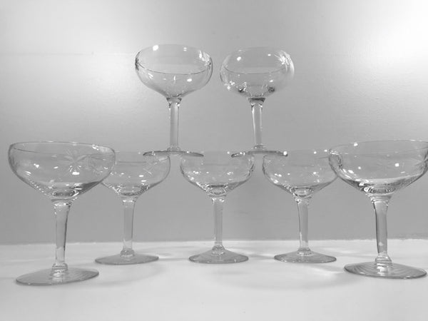 Mid-Century Etched Starburst Champagne Glasses (Set of 6)
