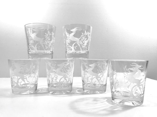 Federal Glass Mid-Century Art Deco White Gazelle Whiskey Glasses (Set of 6)