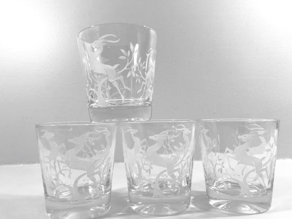 Federal Glass Mid-Century Art Deco White Gazelle Whiskey Glasses (Set of 4)