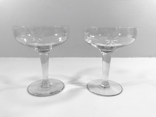 Mid-Century Etched Starburst Champagne Glasses (Set of 2)