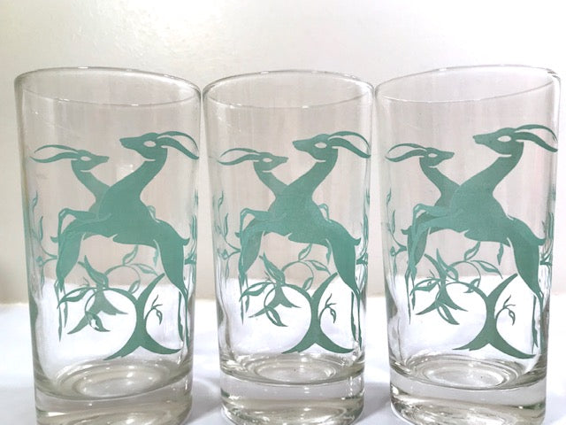 Federal Glass Mid-Century Art Deco Green Gazelle Glasses (Set of 7)