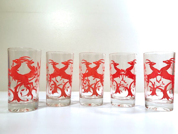 Federal Glass Mid-Century Art Deco Red Gazelle Glasses (Set of 5)