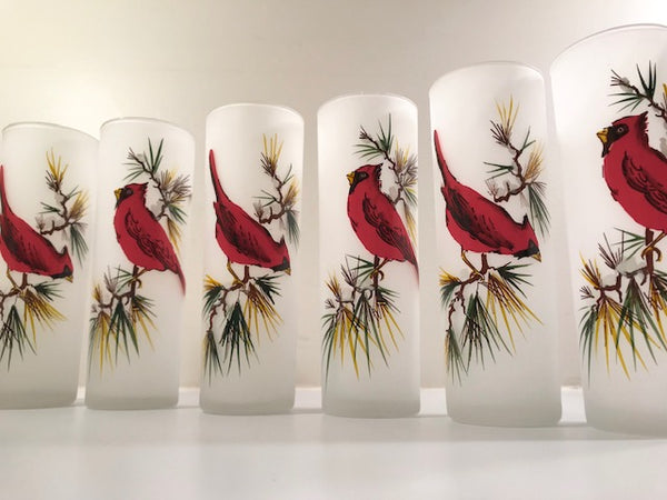Gay Fad Mid-Century Red Cardinal Tall Collins Glasses (Set of 6)