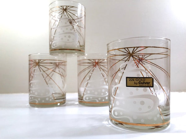 Culver Signed Mid-Century White Trees Double Old Fashion Glasses (Set of 4)