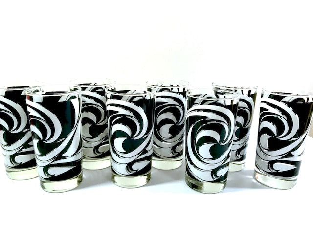 Libbey Partytime Mid-Century Black and White Atomic Swirl Glasses (Set of 8)