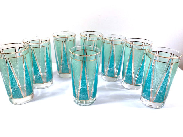 Libbey Partytime Blue and Green Atomic Peaks Cocktail Set (Set of 8 with Original Box)