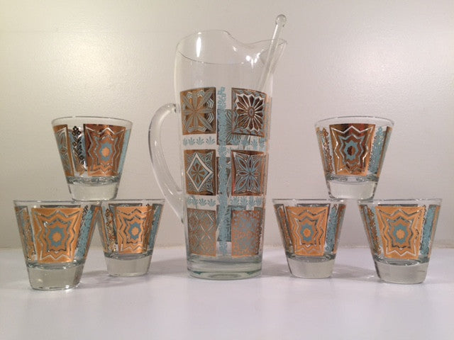 Georges Briard Mid-Century Turquoise and 22-Karat Gold 8-Piece Martini Set
