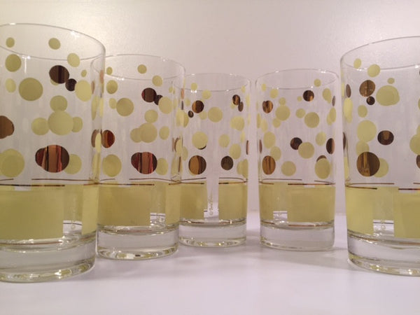 Fred Press Signed Mid-Century Yellow and 22-Karat Gold Bubble Glasses (Set of 5)