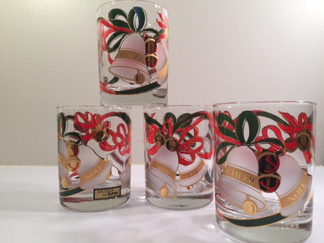 Culver Signed Mid-Century Christmas Bells Glasses (Set of 4)