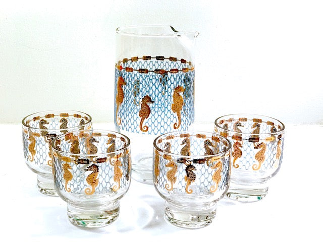 Culver Signed Mid-Century Seahorse 5-Piece Cocktail Set