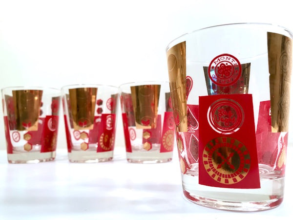 Cera Glass Las Vegas Monte Carlo Mid-Century Double Old Fashion Cocktail Glasses (Set of 4)