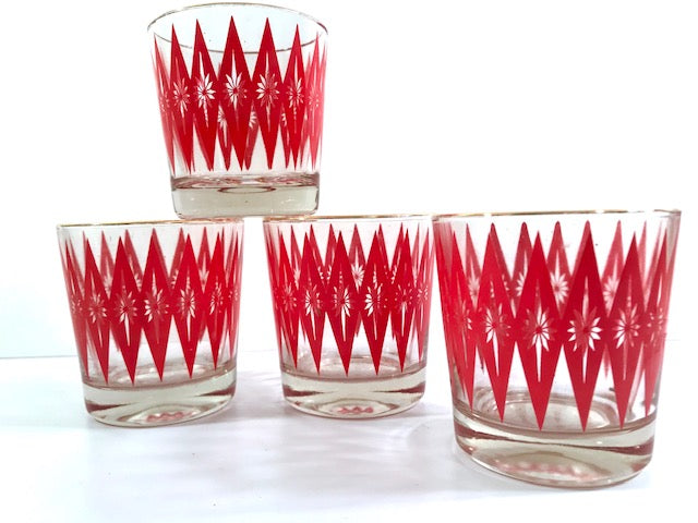 Mid-Century Red Starburst Glasses (Set of 4)