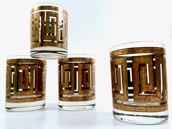 Culver Mid-Century 22-Karat Gold Greek Key Double Old Fashion Glasses (Set of 4)