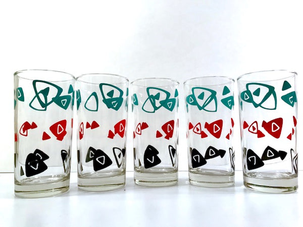 Dominion Glass Mid-Century Tri-Color Boomerang Glasses (Set of 5)