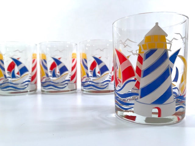 Culver Signed Mid-Century Sailboat and Lighthouse Double Old Fashion Glasses (Set of 4)