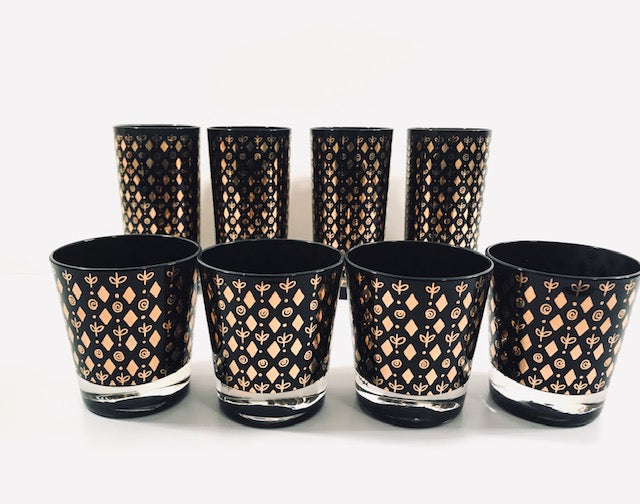 Georges Briard Signed Mid-Century Black and 22-Karat Gold 8-Piece Cocktail Set