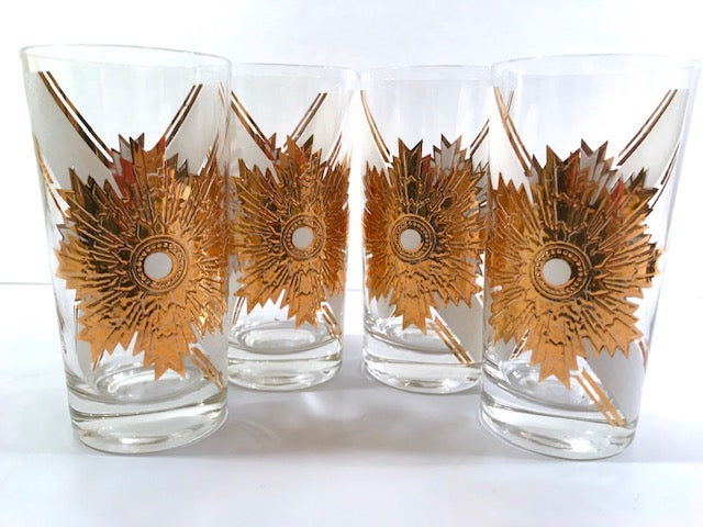 Fred Press Signed Mid-Century Royal Medallion Glasses (Set of 4)