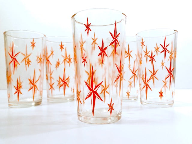 Mid-Century Atomic Star Glasses (Set of 6)