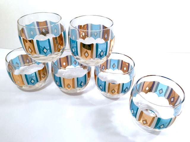 Culver Signed Mid-Century Turquoise and Gold Roly Poly Glasses (Set of 6)