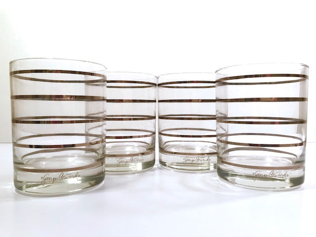 Georges Briard Signed Mid-Century Silver Ring Double Old Fashion Glasses (Set of 4)
