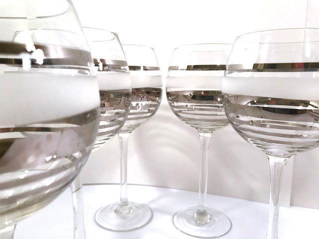 Mid-Century Silver and Frosted Wine Glasses (Set of 6)
