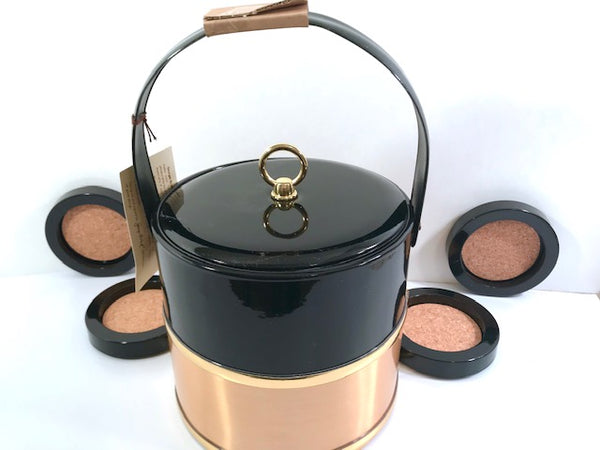 Georges Briard Mid-Century Ice Bucket and Coaster Bar Set
