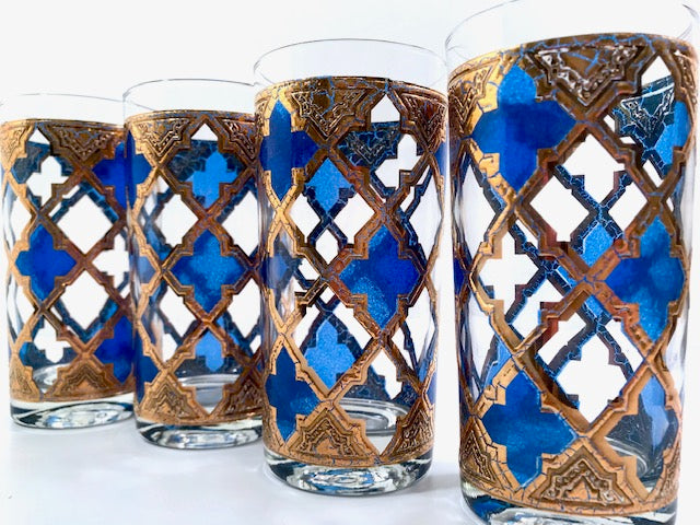 Culver Mid-Century Blue and Gold Encrusted Glasses (Set of 4)