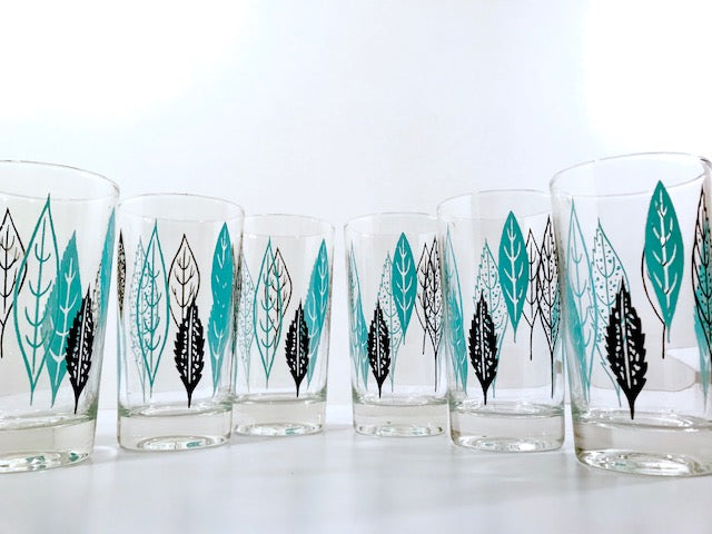 Mid-Century Turquoise and Black Leaf Glasses (Set of 6)