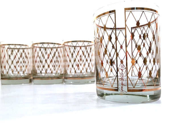 Georges Briard Signed Mid-Century Golden Diamonds Double Old Fashion Glasses (Set of 4)