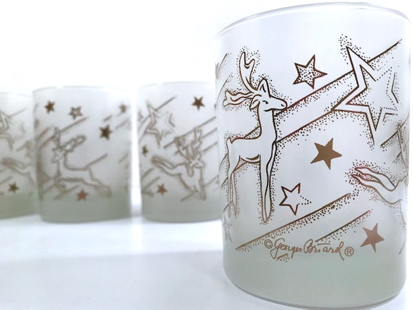 Georges Briard Signed Mid-Century Silver Reindeer Double Old Fashion Glasses (Set of 4)