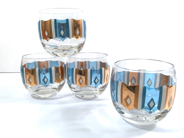 Culver Signed Mid-Century Turquoise and Gold Roly Poly Glasses (Set of 4)