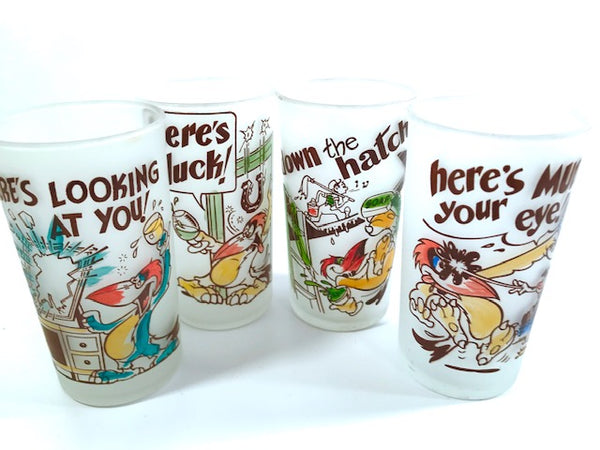 Libbey Mid-Century Frosted Humorous Bird Glasses (Set of 4)