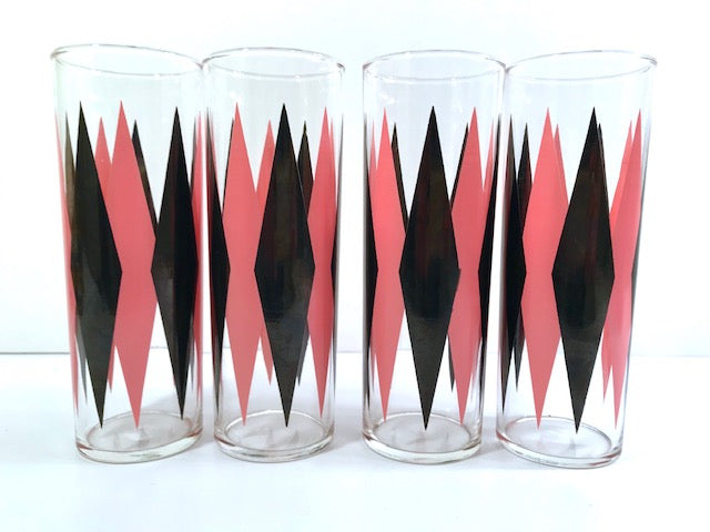 Federal Glass Mid-Century Pink and Black Harlequin Tall Collins Glasses (Set of 4)