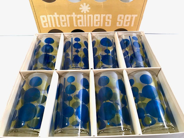 Federal Glass Mid-Century Blue and Yellow Atomic Circle Glasses (Set of 8)