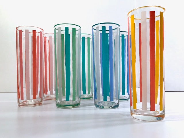 Libbey Mid-Century Partytime Bimini Tall Collins Glasses (Set of 7)