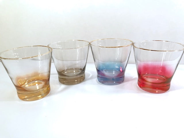 Mid-Century Rainbow Cocktail Glasses (Set of 4)