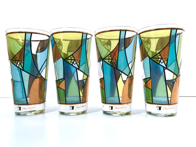 Ned Harris Signed Mid-Century Blue and Green Abstract Glasses (Set of 4)