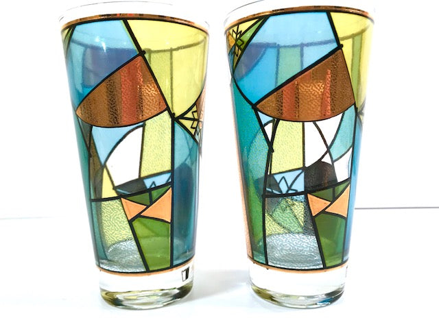 Ned Harris Signed Mid-Century Blue and Green Abstract Glasses (Set of 2)