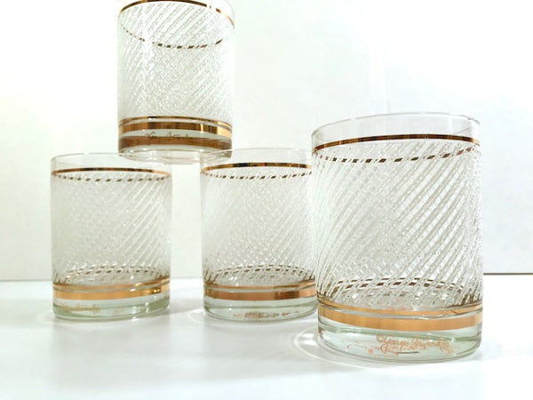 Georges Briard Signed Mid-Century Gold and White Ice Double Old Fashion Glasses (Set of 4)