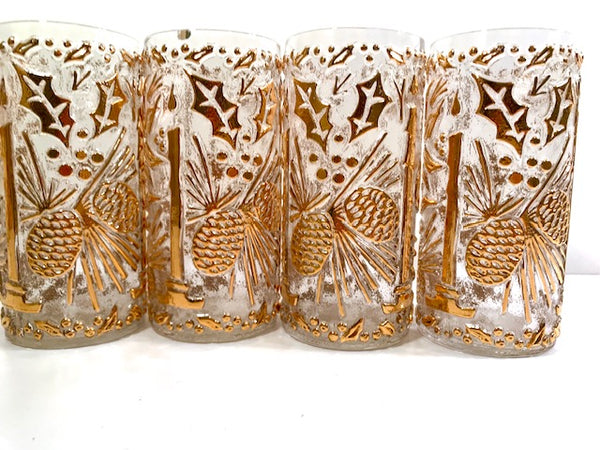 Imperial Glass Mid-Century Golden Christmas Glasses (Set of 4)