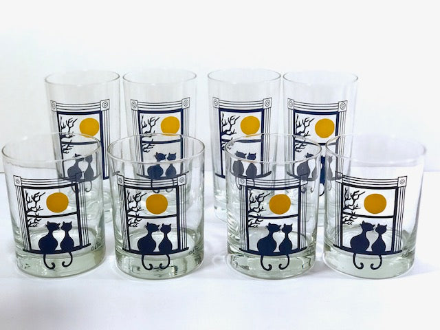 Cera Glass Signed Kitty Moonlight Serenade 8-Piece Cocktail Set