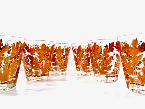 Culver Signed Mid-Century Autumn Leaves Double Old Fashion Glasses (Set of 6)