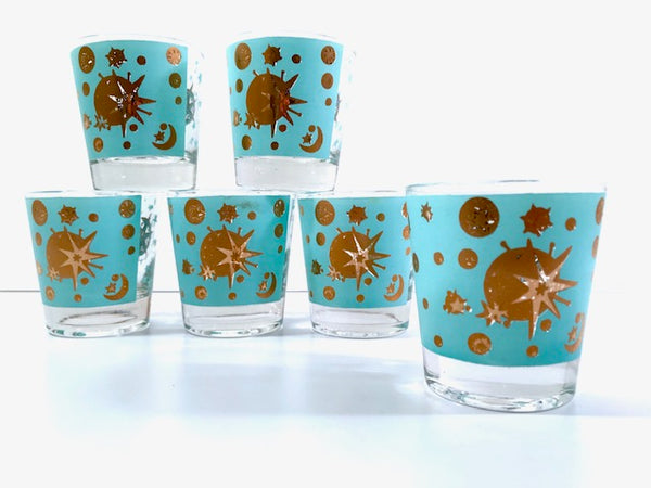 Mid-Century Vintage Starlyte Turquoise and Gold Eclipse Glasses (Set of 6)