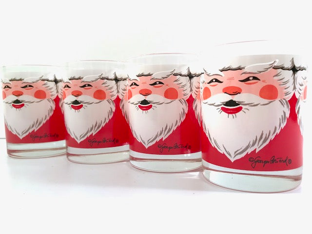 Georges Briard Signed Vintage Santa Double Old Fashion Glasses (Set of 4)